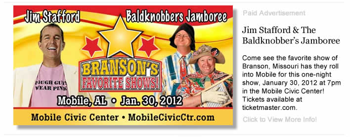 Jim Stafford & The Baldknobber's Jamboree - one-night show, January 30, 2012 at 7pm in the Mobile Civic Center Theater