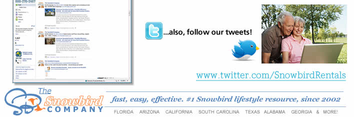 Follow our Tweets on Twitter - visit www.Twitter.com/SnowbirdRentals/
