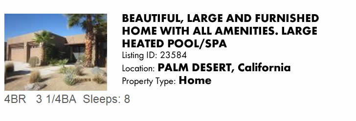 Click to view this Palm Desert, CA Vacation Rental on CaliforniaSnowbird.com