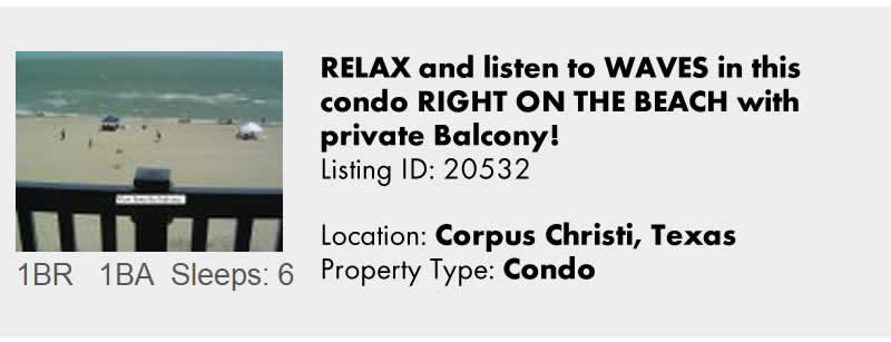View this Corpus Christi TX Vacation Rental By Owner for Snowbird Rentals