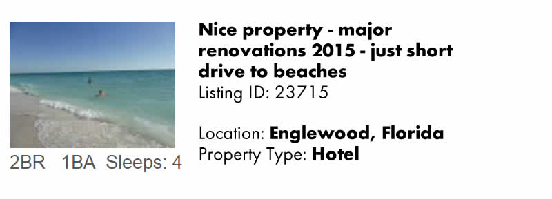 View this Englewood FL Vacation Rental By Owner for Snowbird Rentals