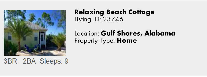 View this Alabama Gulf Coast and Gulf Shores AL Vacation Rental By Owner for Snowbird Rentals
