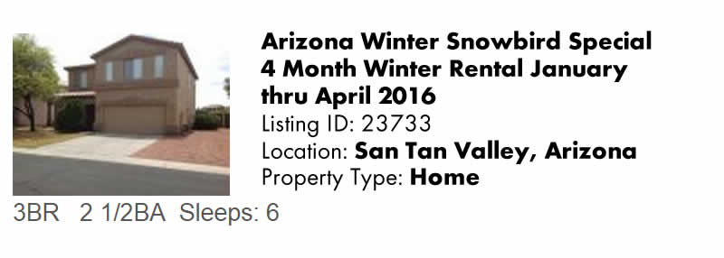 View this Arizona Vacation Rental By Owner for Snowbird Rentals