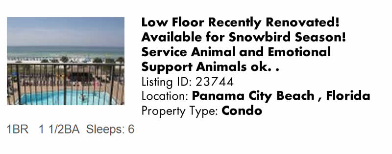 View this Panama City Beach FL - Florida Panhandle & Northwest Florida Vacation Rental By Owner for Snowbird Rentals