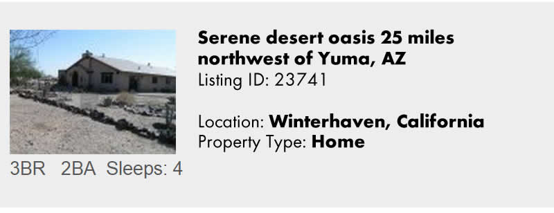 View this Winterhaven CA Vacation Rental By Owner for Snowbird Rentals