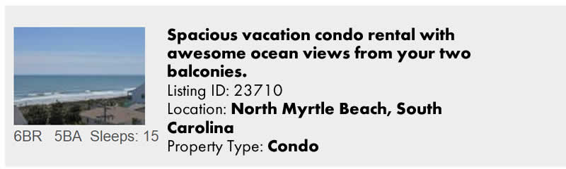 Click to view North Myrtle Beach, SC Snowbird Vacation Rental by Owner