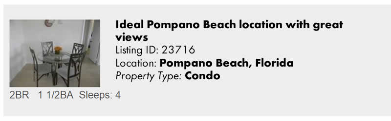 Click to view Pompano Beach, FL Snowbird Vacation Rental by Owner