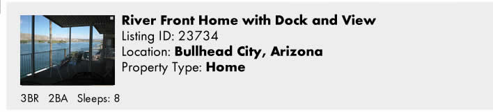 Click here to view this Snowbird Rental in Bullhead City, AZ