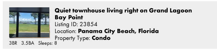 Click here to view this Snowbird Rental in Panama City Beach, FL