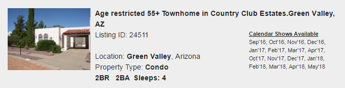 Green Valley, Arizona Snowbird Rental