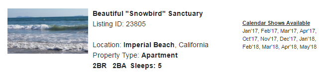 Imperial Beach, California Snowbird Rental