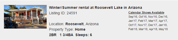 Roosevelt, Arizona Snowbird Rental