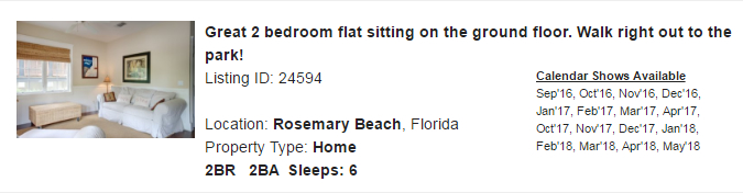 Rosemary Beach, Florida Snowbird Rental