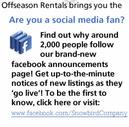 View or Facebook Page for Snowbird Rental Listing Announcements
